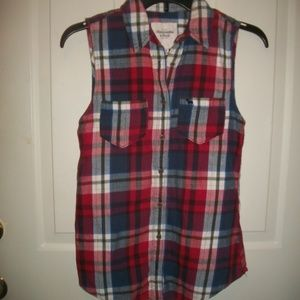 Abercrombie & Fitch plaid flannel sleeveless top M